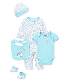 Look what I found on #zulily! Blue Sheep Five-Piece Layette Set - Infant #zulilyfinds