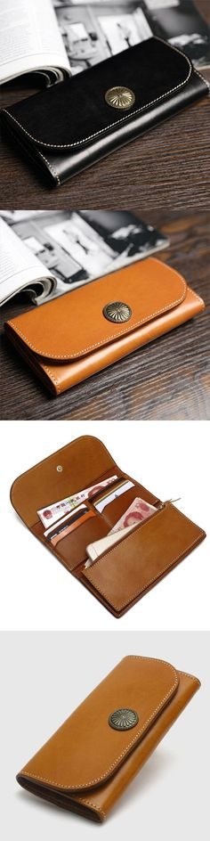 Handmade leather vintage women long multi cards wallet clutch purse wallet