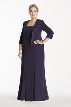 Perfect for any event, especially the Mother of the Bride, you will look sensational in this two piece set!  Sleeveless glitter jacquard knit bodice with a matching long sleeve glitter jacquard knit jacket.  Floor length skirt gives this dress a whimsical feel.  Designed by Alex Evenings.  Dress is fully lined. Back zip. Imported polyester.  Hand wash cold, no bleach, lay flat to dry. Cool dry iron on reverse side if necessary. Do not dry clean.