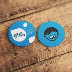 Round Circle Business Card With Cartoon Illustration
