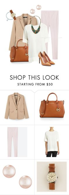 """""""Pink pearl"""" by marijime-paperdoll ❤ liked on Polyvore featuring MANGO, MICHAEL Michael Kors, Lafayette 148 New York, Majorica, J.Crew, Roland Mouret, WorkWear, Spring, outfit and Pink"""