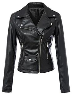 c1ae92993795 Tanming Women s Faux Leather Collar Moto Biker Short Coat Jacket Leather  Collar