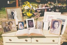 Family photos table- could go with guest book family tree