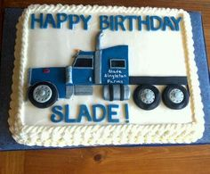 Semi cake Truck Birthday Cakes, Birthday Fun, Birthday Ideas, Semi Truck Cakes, Dad Cake, Cakes For Boys, Creative Cakes, Celebration Cakes, Cakes And More