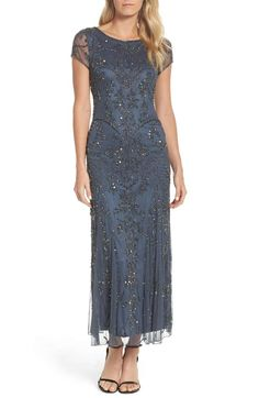 628536091a3 Main Image - Pisarro Nights Embellished Mesh Gown (Regular   Petite) Beach  Attire