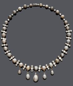 AN ANTIQUE NATURAL PEARL AND DIAMOND NECKLACE, CIRCA 1900. Designed as a series of 29 graduated bouton-shaped, round and slightly oval, grey natural pearls, spaced by diamond-set links. The front decorated with 5 pendants, each set with 1 drop-shaped pearl with a diamond-set cap, mounted in silver and yellow gold. #antique #necklace