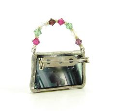 Stained Glass Purse Brooch with Swarovski Crystals