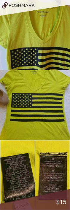 Bright Yellow American Flag T-shirt Norma Kamali good used condition American flag t-shirt Norma Kamali Tops Tees - Short Sleeve