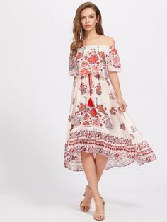 Shop Bardot Floral Print Dress With Fringe online. SheIn offers Bardot Floral Print Dress With Fringe & more to fit your fashionable needs.