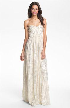 Erin by Erin Fetherston Shirred Metallic Chiffon Gown:$550