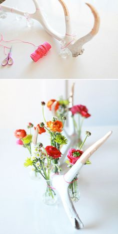 Create this antler flower display. | 33 Irresistibly Spring DIYs