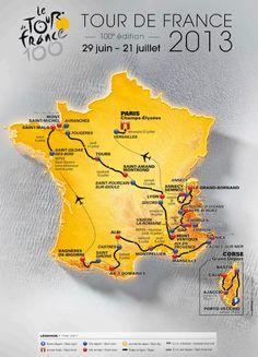 Tour de France 2013 Official Route Map #tdf #letour More: http://pinterest.com/tourdefrancefan/
