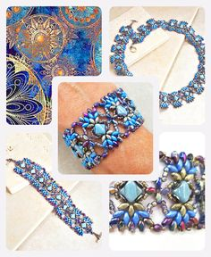 Beaded Jewelry Blue La Paloma Beadwork Bracelet Kit - Multi-hole seed bead bracelet beading pattern - Pamper yourself with this gorgeous bracelet beadweaving kit. Beaded Bracelets Tutorial, Beaded Bracelet Patterns, Bracelet Designs, Handmade Bracelets, Handmade Jewelry, Beaded Necklace, Embroidery Bracelets, Bead Earrings, Making Bracelets With Beads
