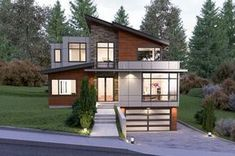 Beautiful Modern Exterior Design done by UrbanDesignCenter. We will help you imagine, plan, design and build the home of your dreams! Our website is www. You can find us at 2724 Ave S, Seattle, WA 98134 Email: ella Contemporary Style Homes, Contemporary House Plans, Modern House Plans, Contemporary Design, Modern Houses, Up House, Good House, House Front, Garage House Plans