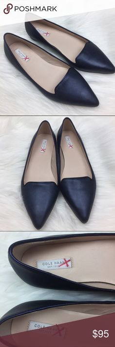 Cole Haan Pointed Toe Flats NWOB Dark Blue Black •Cole Haan Dark Blue Black Leather Pointed Toe Flats •New without box, never worn; just small marker markings on bottom sole •Women's Size 7 B Cole Haan Shoes Flats & Loafers