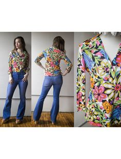f6f91a267a26 Vintage 1970s Floral Spring Button Up Blouse - Rhoda Lee - Size M by AveryVintageShop  on