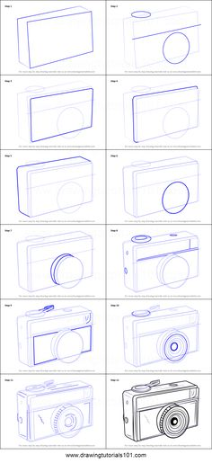 How to Draw a Vintage Camera Printable Drawing Sheet by DrawingTutorials101.com