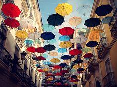 Umbrella installation by Ingo Maurer - Spain