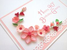 Handmade by Joscinta, Pink Paper Quilling Birthday Card. Handmade by Joscinta, Quilling Birthday Cards, 90th Birthday Cards, Paper Quilling Cards, Quilling Craft, Quilling Patterns, Quilling Designs, Handmade Birthday Cards, 90 Birthday, Handmade Greetings