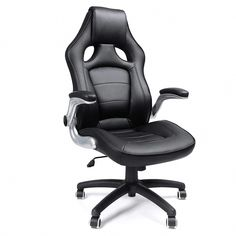 SONGMICS High Back Desk Office Chair with Flip-up Armrests, Large Racing Sport Computer Chair with Thick Seat and Tilt Function Executive Swivel Chair Black Mixed Dining Chairs, Industrial Dining Chairs, Chaise Gaming, Gaming Chair, Heavy Duty Beach Chairs, Herman Miller Aeron Chair, Wrought Iron Patio Chairs, Chairs For Small Spaces, Office Computer Desk