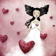 Beautiful art by Anne Julie Aubry Illustrations, Illustration Art, Aubry, Art Fantaisiste, Art Carte, Le Jolie, Julie, Heart Art, Whimsical Art