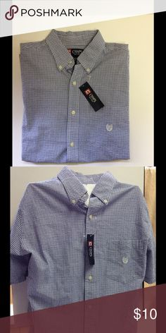 Chaps Men's Small Checkered Short Sleeve Shirt ☀️ NWT Chaps Men's Size Small Blue and White Checkered Short Sleeve Shirt. Great for a formal or casual occasion. ☀️ Chaps Shirts Casual Button Down Shirts