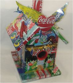 Soda Pop Can Folk Art Bird House Ooak - Way Cool