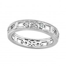 Cara 18ct Diamond Set Wedding Ring 	Cara is another name for beloved and in 18ct white gold set with diamonds this ring certainly is beloved.  Cara has elements of open lattice work and simple but beautiful floral filigree flowers, bordered either side by round cut diamonds. Cara is tastefully finished off with a gentle mill grain edge.  Coated in a luxurious rhodium plating.  Approximate carat weight of 8pts.