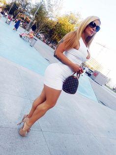 short skirt high heels