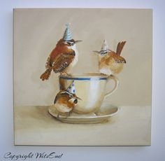 'CAROLINA'S TEA PARTY'. Birds Tea Party painting original ooak wrens fantasy by 4WitsEnd, via Etsy. SOLD