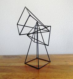 Geometric Pyramid Sculptures - Set of 3 in Black - jewelry display Line Sculpture, Steel Sculpture, Metal Sculptures, Black Jewelry, Steel Jewelry, Geometric Sculpture, Jewelry Show, Wire Art, Jewellery Display
