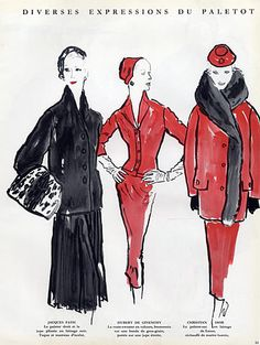 Blossac 1952 Schiaparelli, Balenciaga, Winter Coats Rouff, Jean Desses ...4 Pages