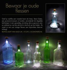 The Bottle Light vansuck uk is een kleine ledlamp die op elke lege fles past. Zo maak je van een wijnfles opeens een leuke lamp. Oplaadbaar met USB.