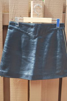 Vintage Zippered Black Leather Suede Miniskirt Skirt by MyBlueBag  #Saints and Spitalfield