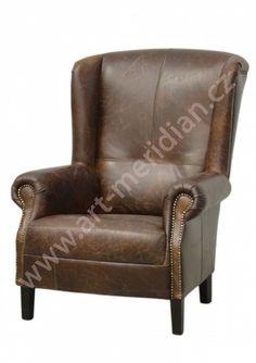 Kožené křeslo (ušák) Francis Wingback Chair, Armchair, Home Board, Accent Chairs, Furniture, Home Decor, Womb Chair, Homemade Home Decor, Wingback Chairs