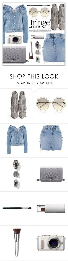"""Shimmy Shimmy: Fringe + DENIM"" by julijana-k ❤ liked on Polyvore featuring Sam Edelman, Chloé, Topshop, Laura Mercier, Clinique, Trish McEvoy and PL8"
