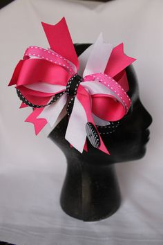 Pink stacked hair bow by FancyFashions11 on Etsy