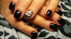 #gel_nails#sexy_black#mirror_effect#chanel_design