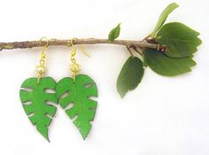 Fern leaves leather earrings Fashion handmade by julishland, $5.00
