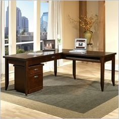 Kathy Ireland Home By Martin Furniture Tribeca Loft L Shape Wood Writing  Desk In Cherry
