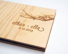 wedding guest book album custom wood engagement anniversary gift modern rustic engrave // petite tree branch silhouette