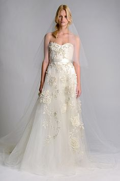 Stunning Fl Textured Wedding Dress Marchesa Fall 2017 Dresses