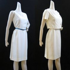 50s 60s Dress Vintage White Rayon Dress Suit by voguevintage, $48.00