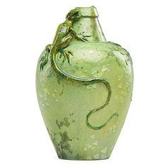 EDMOND LACHENAL Vessel with lizard - Price Estimate: $1000 - $1500