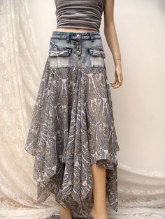 Denim Festival folk maxi skirt, Boho upcycled skirt, gypsy skirt, denim folk skirt ,reworked maxi skirt, bohemian skirt, upcycled clothing  Lovely wide maxi denim reworked skirt made of chiffon, and denim vintage mini skirt. Buttoned skirt, without lining, with two front pockets. Does not require ironing. Best for gypsy, bohemian hippie style.  Size: M-L waist approx 81cm/ 32 inch hips approx 96cm/37.8 inch length max approx 110cm/43inch  Please any questions or concerns before...