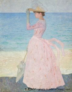This painting might not really work. I'm not sure. There isn't a good view of the front of the dress.   Aristide Maillol, la femme a l'ombrelle.