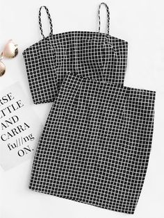 Shop Grid Print Zip Back Cami Top And Skirt Co-Ord online. SheIn offers Grid Print Zip Back Cami Top And Skirt Co-Ord & more to fit your fashionable needs. Teen Fashion Outfits, Hot Outfits, Cute Casual Outfits, Outfits For Teens, Pretty Outfits, Girl Outfits, Fashion Boots, Summer Outfits, Jugend Mode Outfits