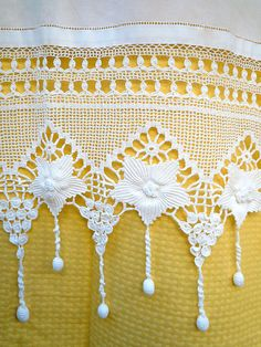Handmade crochet curtain with lace-Flowers design with tassels-Cottage chic-Mediterranean Handmade crochet curtain with atrante and lace by Patterns for Crochet CurtainsShop Handmade Traditional Embroidery Online available at Naxos Art - Crochet Lace Edging, Crochet Borders, Thread Crochet, Filet Crochet, Irish Crochet, Crochet Doilies, Crochet Stitches, Crochet Curtain Pattern, Crochet Curtains