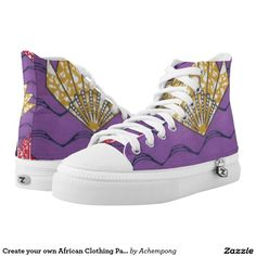 Create your own African Clothing Pattern Purple Printed Shoes #African beautiful fantastic feminine design Clothing #Pattern #Purple #Lover #print #casual #unique #custom #sneakers