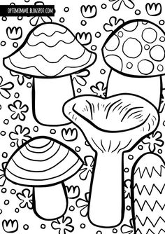 Mushrooms (a coloring page) / Sienet (värityskuva) Free Coloring Pages, Printable Coloring Pages, Work Inspiration, 2 Colours, Stuffed Mushrooms, Drawing, Colouring In, Rabbit Enclosure, Crates